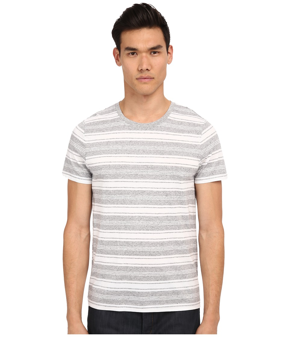 Vince - Short Sleeve Jaspe Stripe Crew Neck T-Shirt (Heather Grey/Optic White) Men's T Shirt
