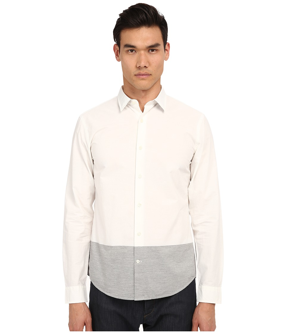 Vince - Long Sleeve Melange Blocked Shirt (White/Heather Steel) Men's Long Sleeve Button Up