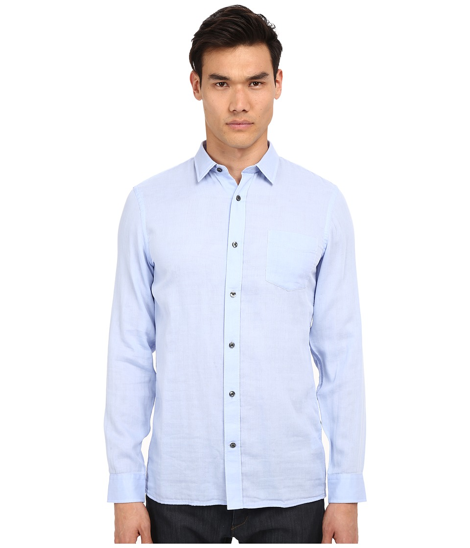 Vince - Long Sleeve Square Hem Double Face Shirt (Skyfall Blue) Men's Long Sleeve Button Up