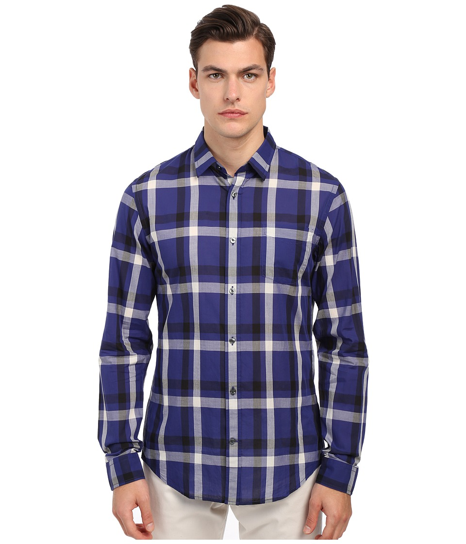 Vince - Long Sleeve Graphic Plaid Button Up (Twilight Blue) Men's Long Sleeve Button Up