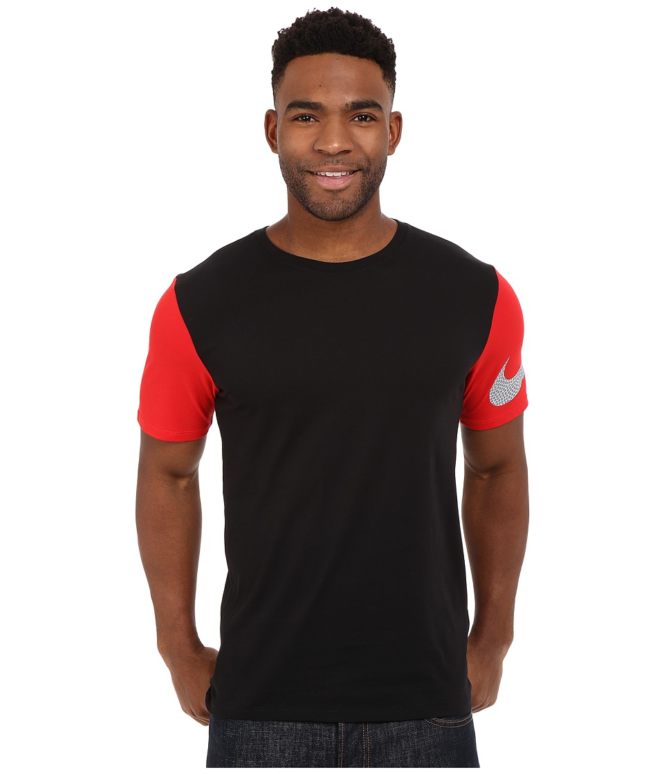 Nike - Swoosh Sleeve Tee (Black/University Red/Black/Wolf Grey) Men's T Shirt