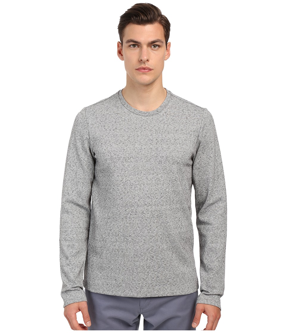 Vince - Long Sleeve Double Knit Crew Neck T-Shirt (Heather Steel) Men's T Shirt