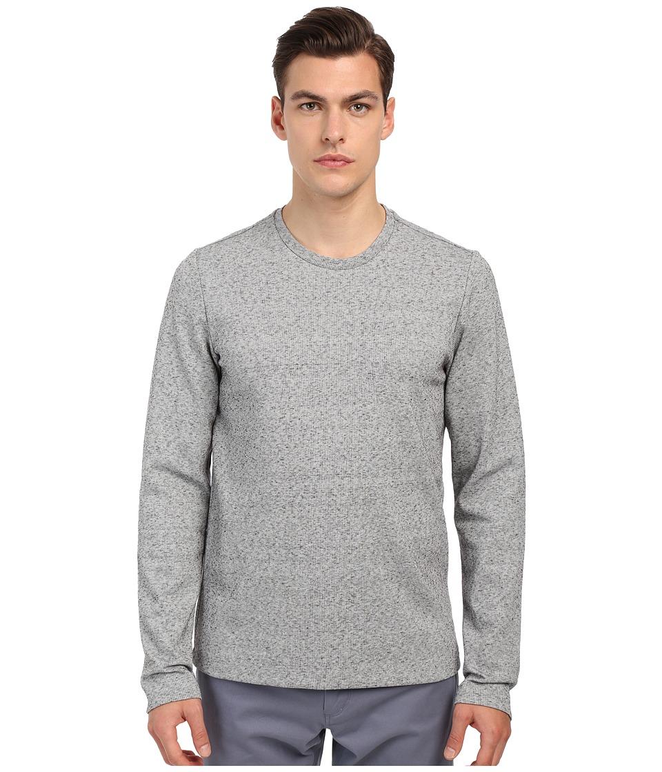 Vince - Long Sleeve Double Knit Crew Neck T-Shirt (Heather Steel) Men's T Shirt