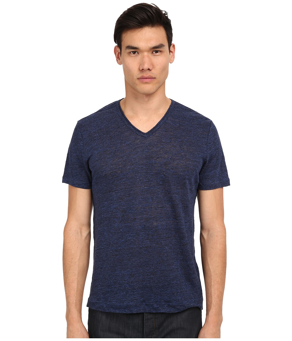 Vince - Short Sleeve Linen V-Neck T-Shirt (Twilight Blue) Men's T Shirt