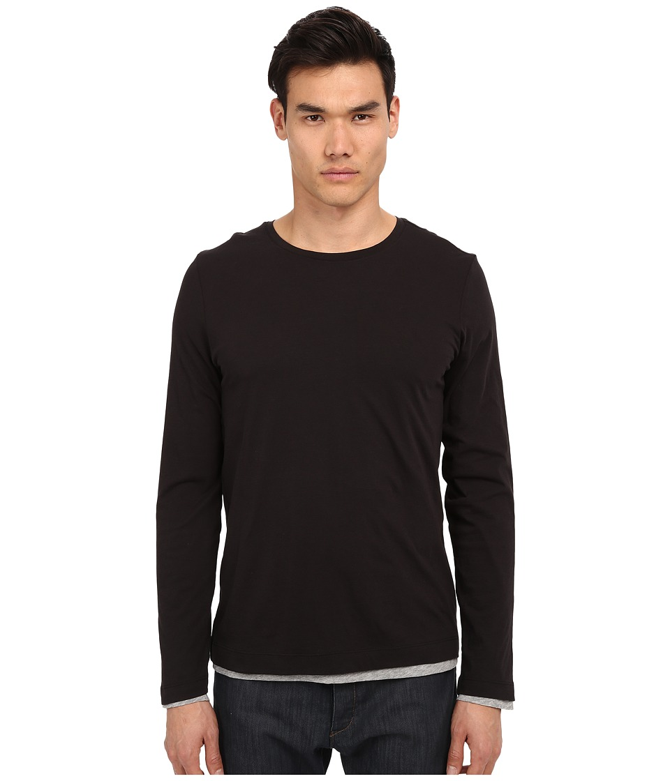 Vince - Pima Long Sleeve Double Layer Crew Neck T-Shirt (Black/Heather Steel) Men's T Shirt