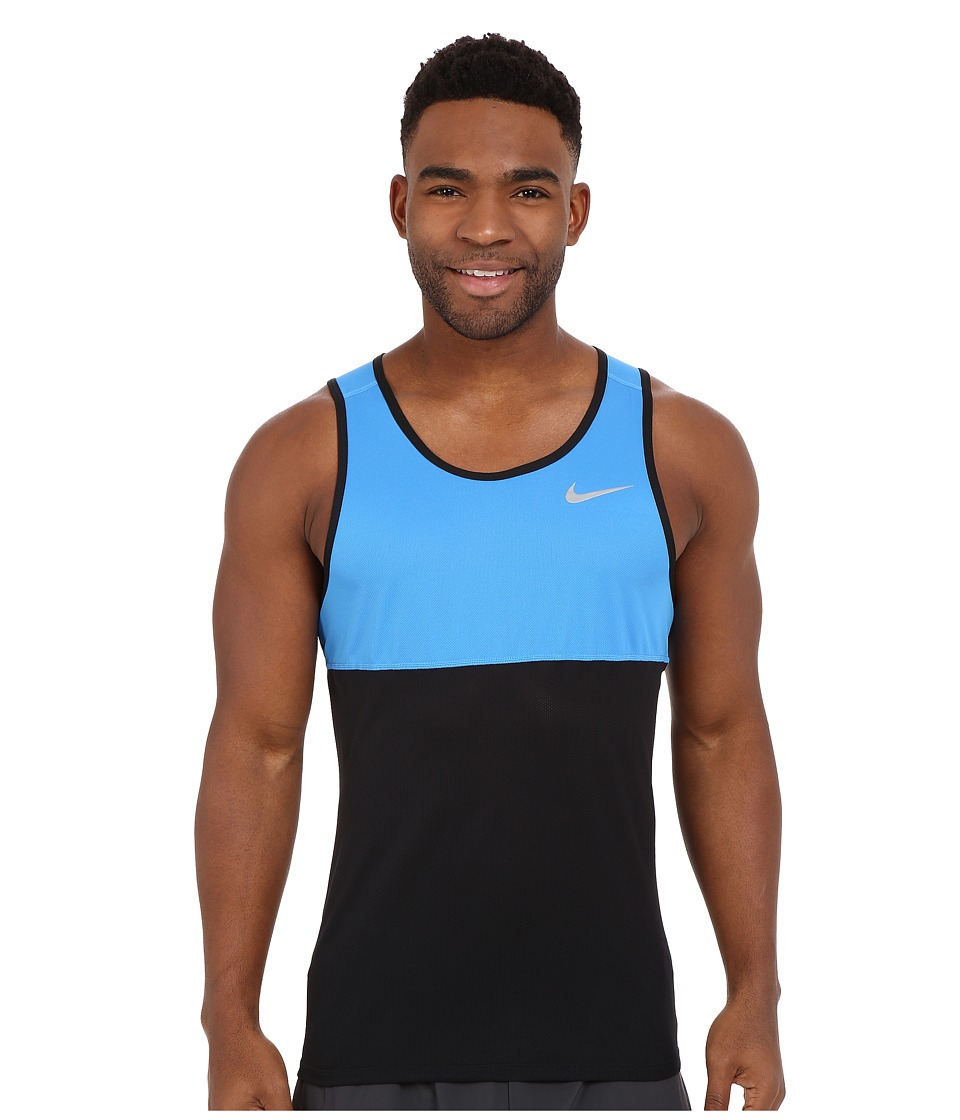 Nike - Dry Running Tank (Black/Light Photo Blue/Black/Reflective Silver) Men's Sleeveless