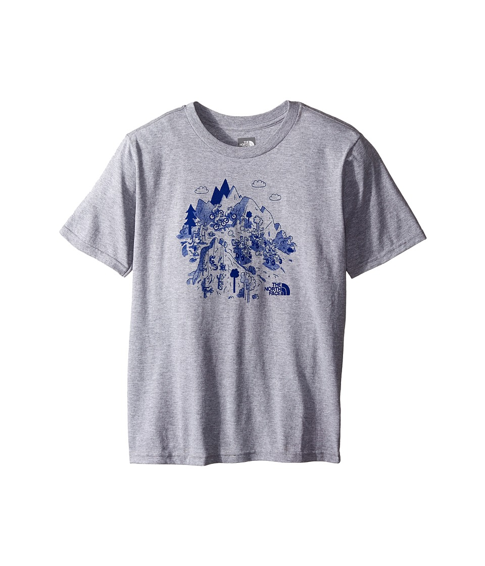 The North Face Kids - Short Sleeve Graphic Tee (Little Kids/Big Kids) (TNF Light Grey Heather/Marker Blue) Boy's Clothing