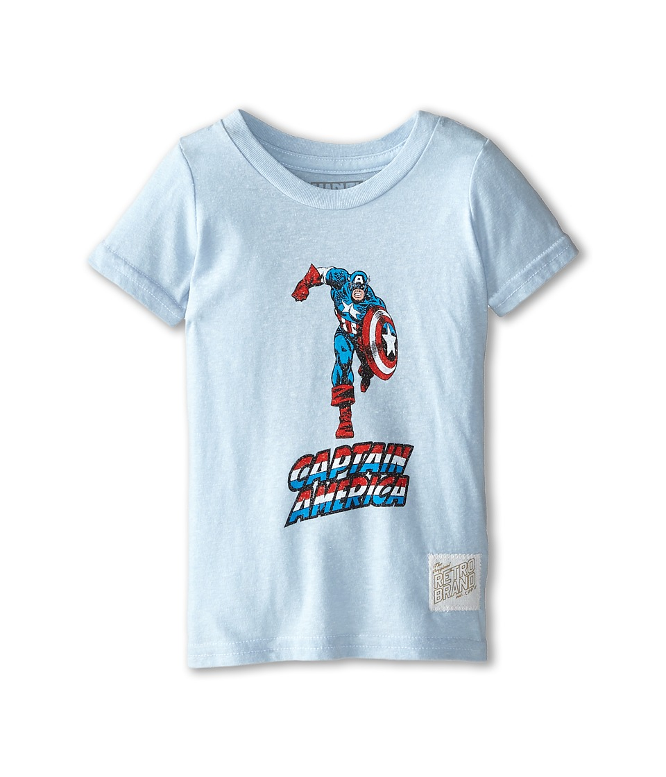The Original Retro Brand Kids - Captain America Short Sleeve Tee (Toddler) (Streaky Light Blue) Boy