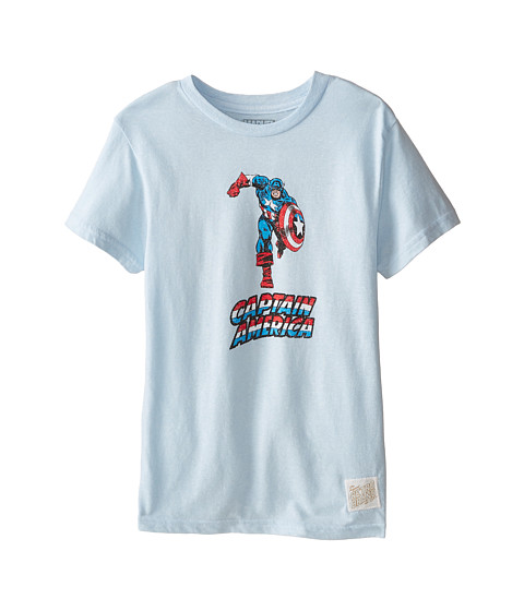 The Original Retro Brand Kids - Captain America Short Sleeve Tee (Big Kids) (Streaky Light Blue) Boy