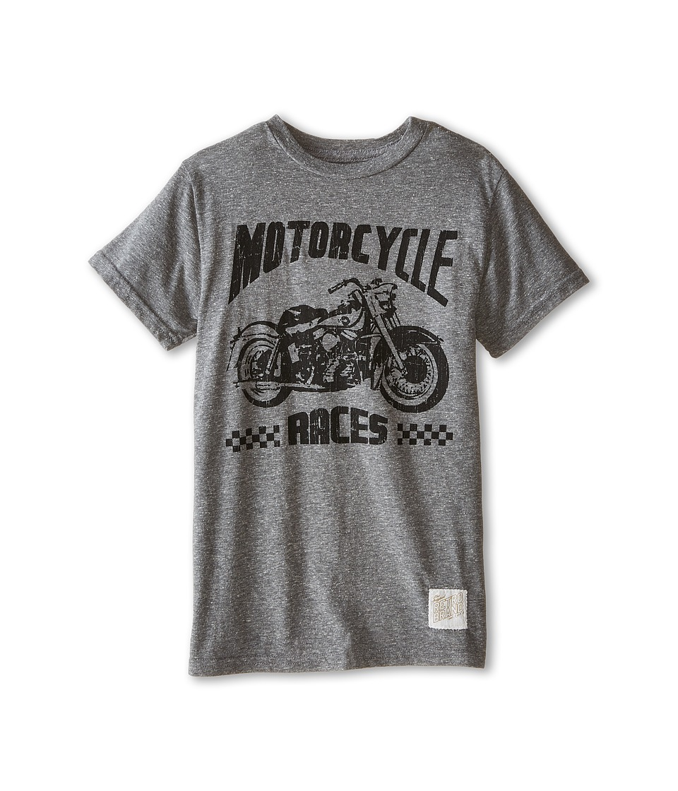 The Original Retro Brand Kids - Motorcyle Races Short Sleeve Tee (Big Kids) (Streaky Grey) Boy's T Shirt