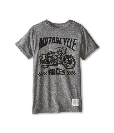 The Original Retro Brand Kids - Motorcyle Races Short Sleeve Tee (Big Kids) (Streaky Grey) Boy