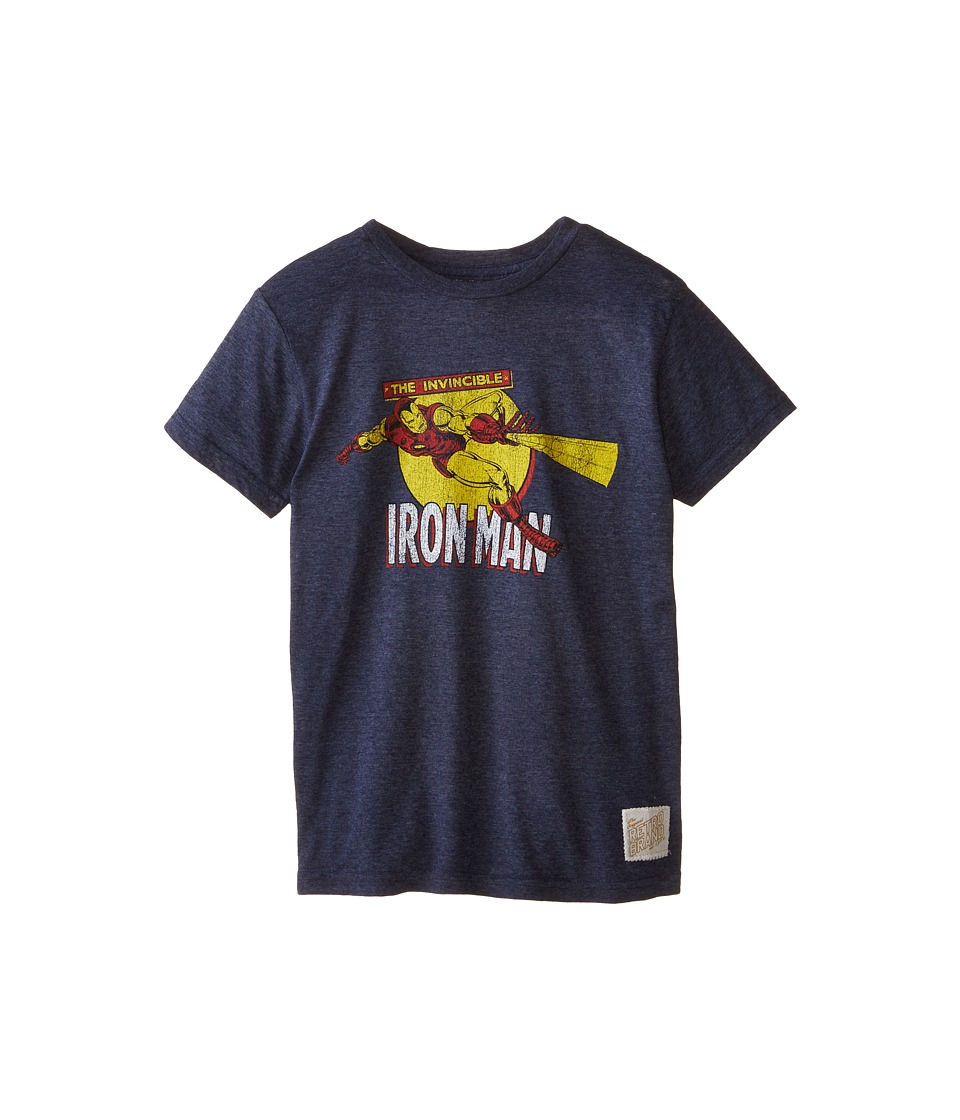 The Original Retro Brand Kids - Iron Man Short Sleeve Tee (Big Kids) (Streaky Navy) Boy