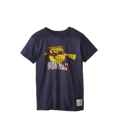 The Original Retro Brand Kids - Iron Man Short Sleeve Tee (Big Kids) (Streaky Navy) Boy's T Shirt