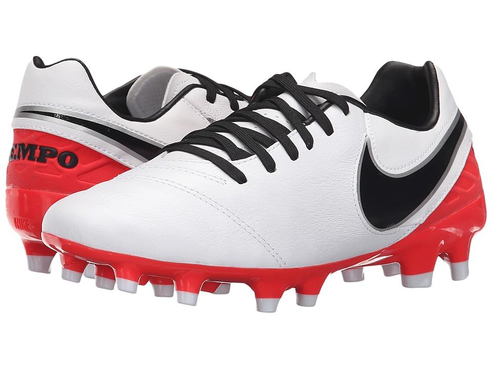 Nike - Tiempo Mystic V FG (White/Bright Crimson/Black) Women's Soccer Shoes
