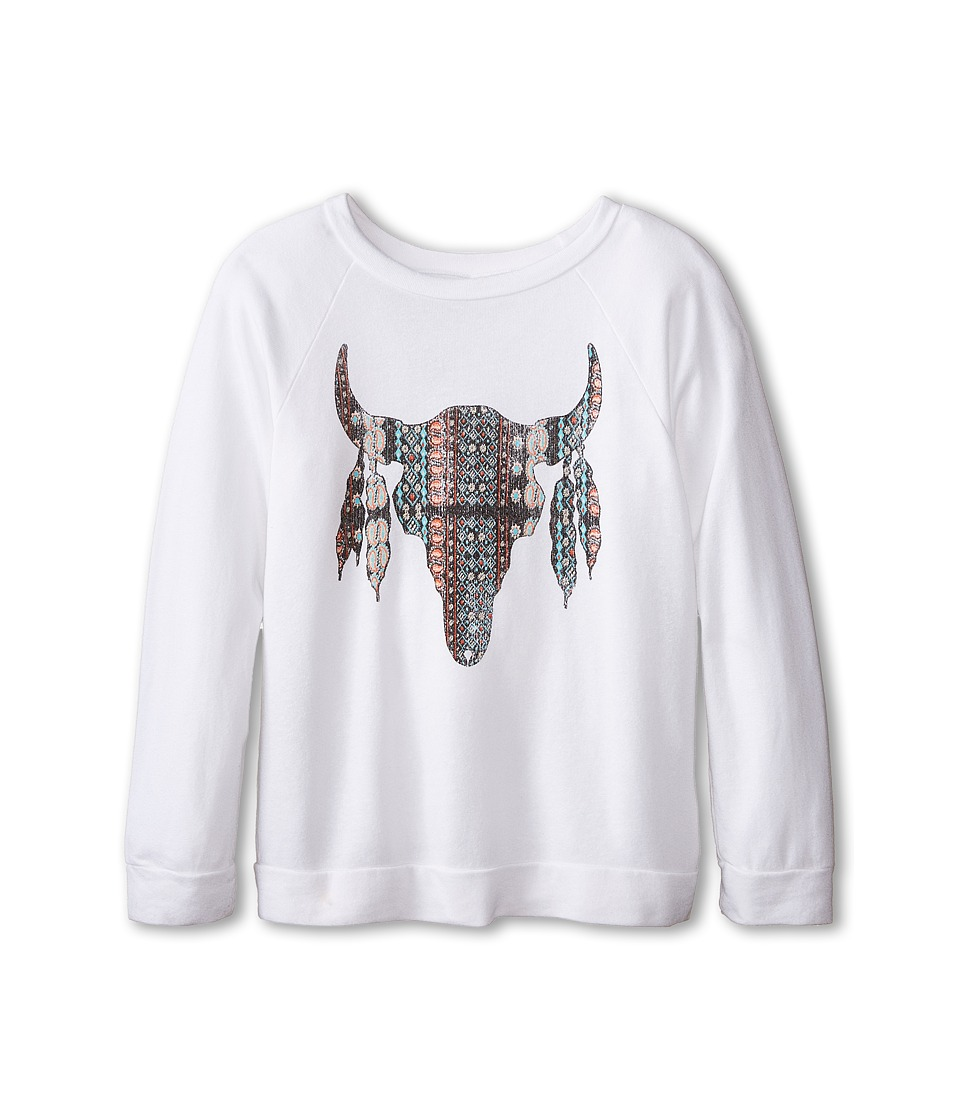 The Original Retro Brand Kids - Aztec Cow Skull Lightweight Fleece Tee (Little Kids/Big Kids) (Quad White) Girl
