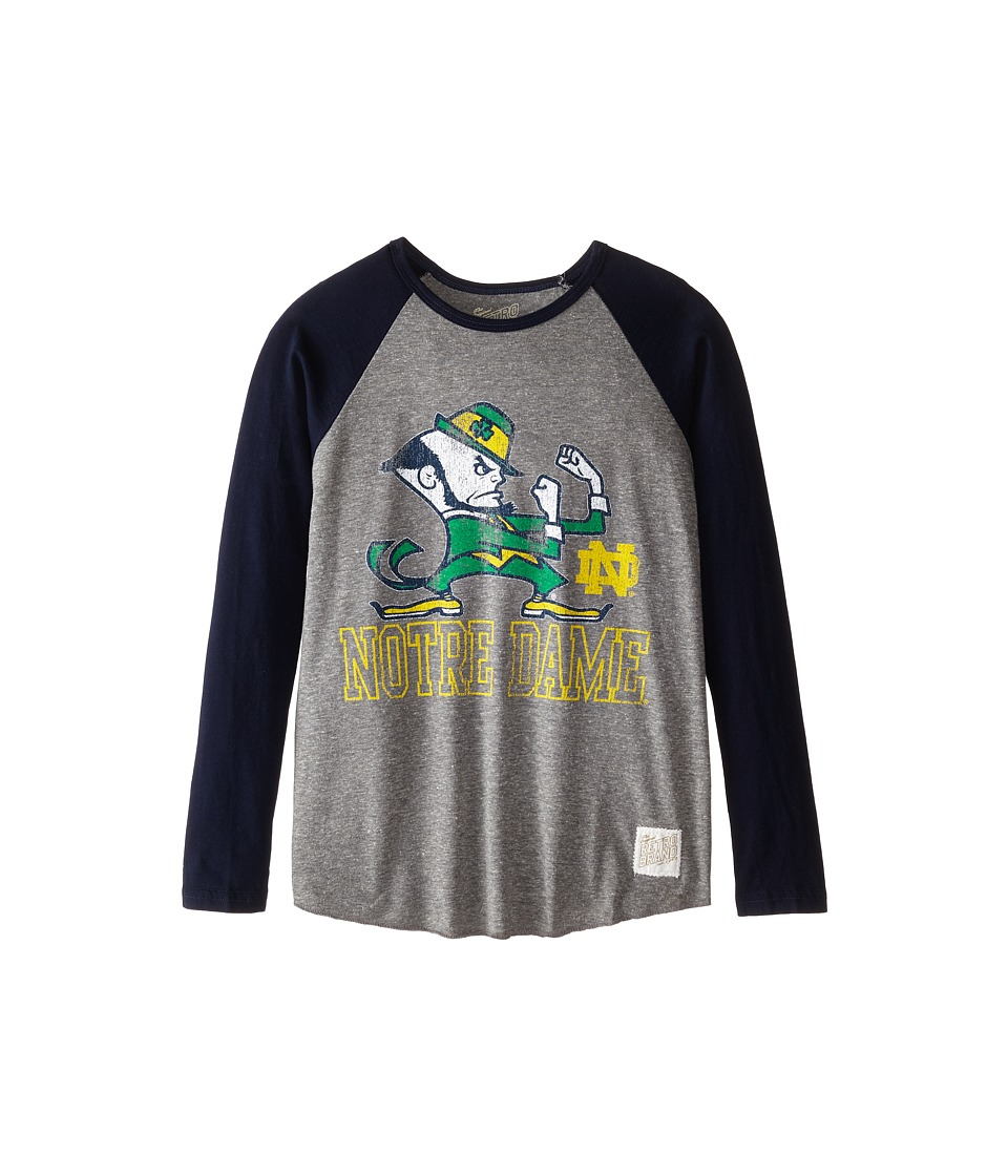 The Original Retro Brand Kids - Notre Dame Raglan Baseball Tee (Big Kids) (Streaky Grey/Navy Sleeve) Boy's T Shirt