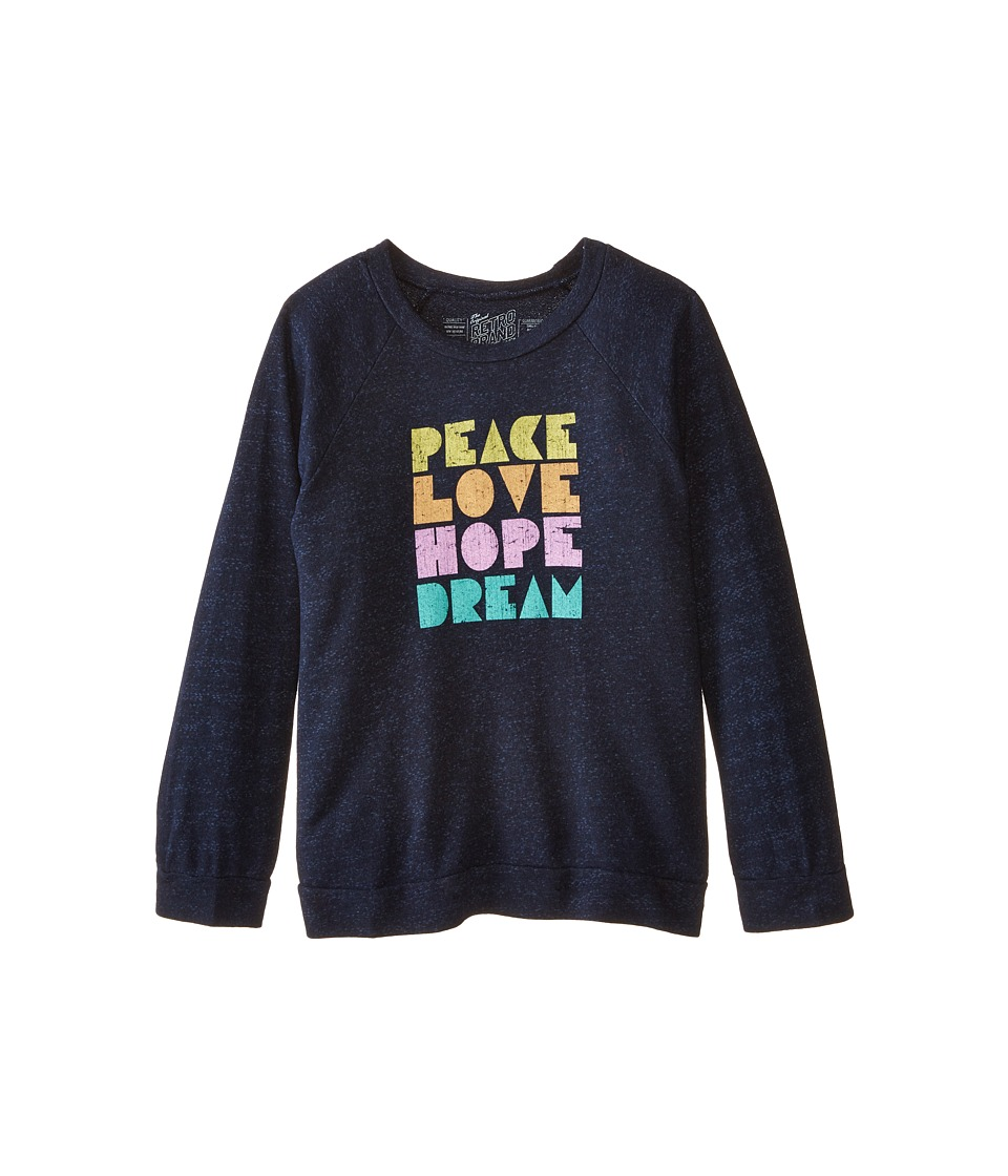 The Original Retro Brand Kids - Peace Love Hope Lightweight Fleece Sweatshirt (Little Kids/Big Kids) (Quad Navy) Girl's Sweatshirt