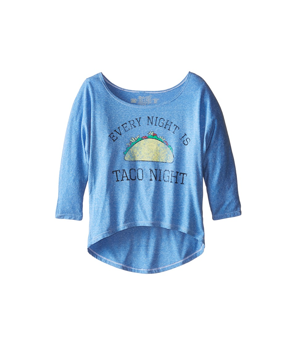 The Original Retro Brand Kids - Taco Night 3/4 Dolman Top (Little Kids/Big Kids) (Light Blue) Girl