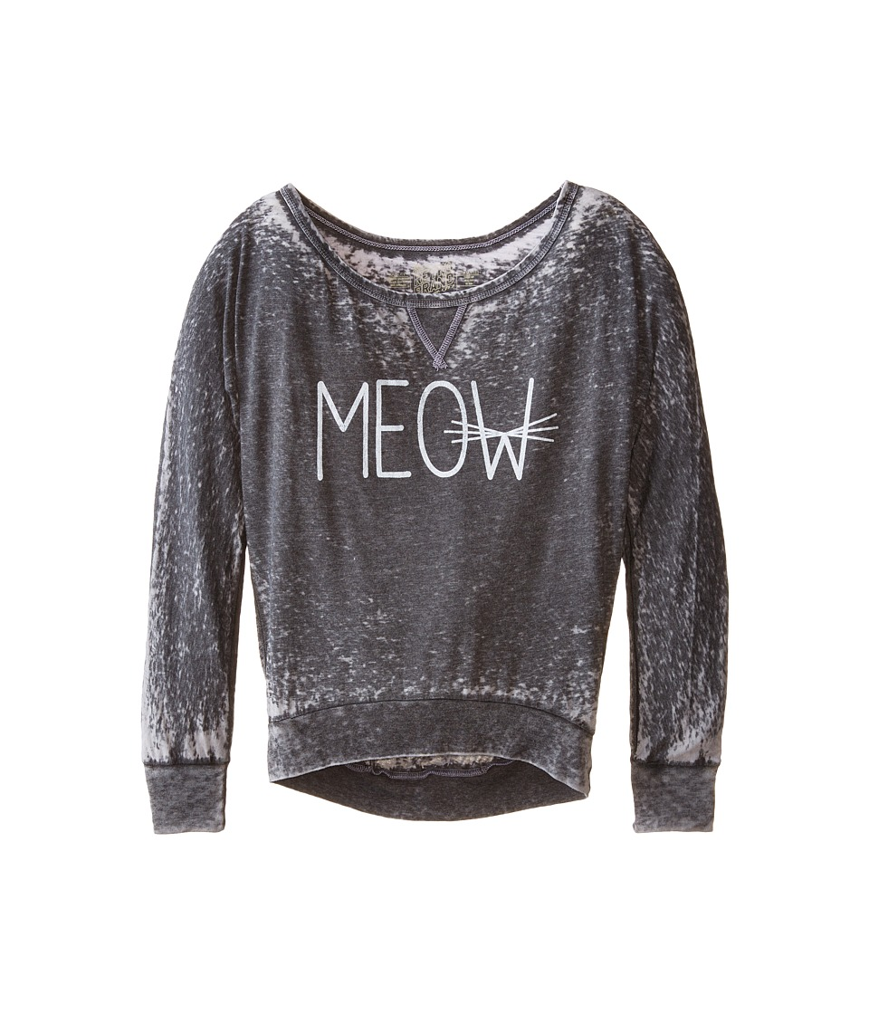 The Original Retro Brand Kids - Meow Burnout Long Sleeve Tee (Little Kids/Big Kids) (Meow) Girl's Long Sleeve Pullover