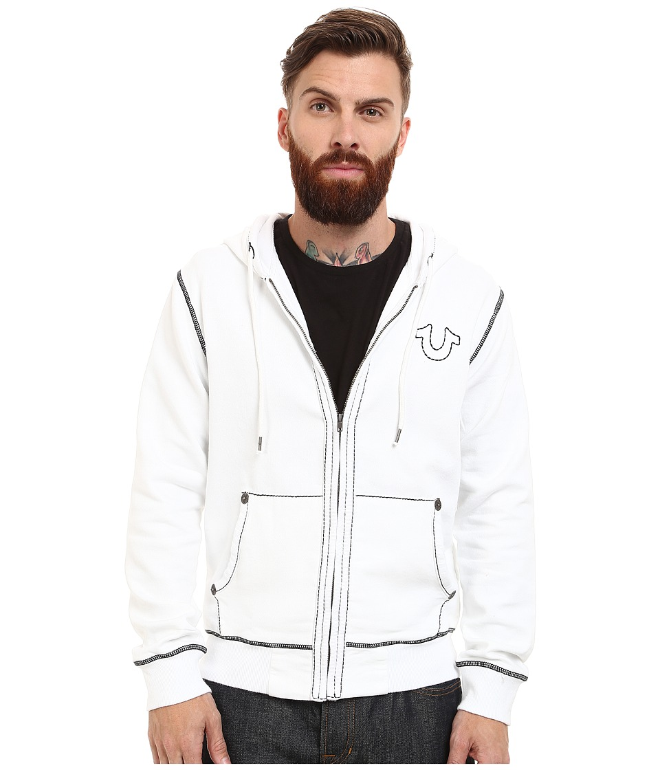 True Religion - Long Sleeve Contrast Stitch Big T Hoodie (Optic White) Men's Sweatshirt