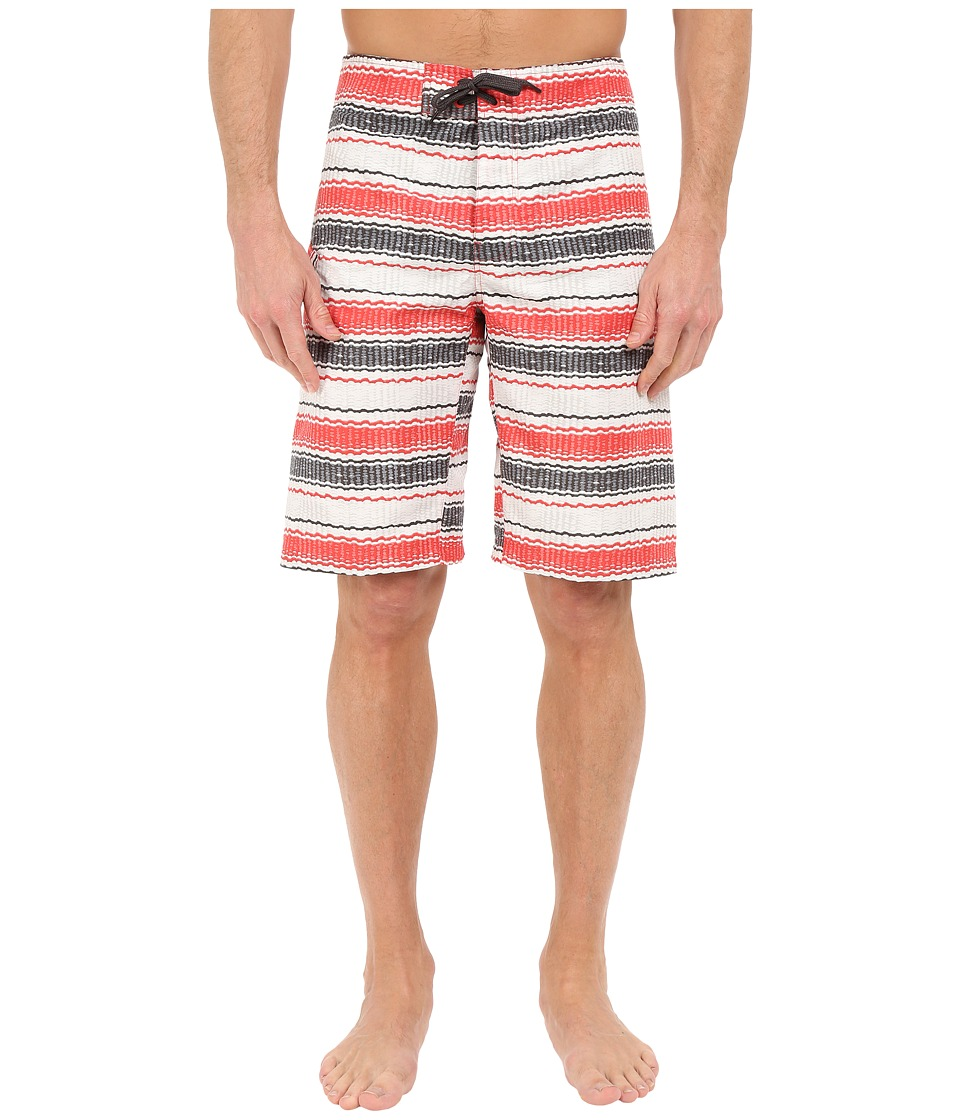 Columbia - Coast On By Boardshorts (Sunset Red Burley Stripe) Men's Swimwear