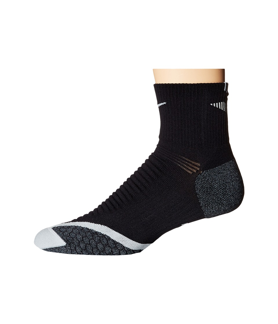 Nike Nike Elite Running Cushion Quarter (Black/Wolf Grey/Wolf Grey) Quarter Length Socks Shoes