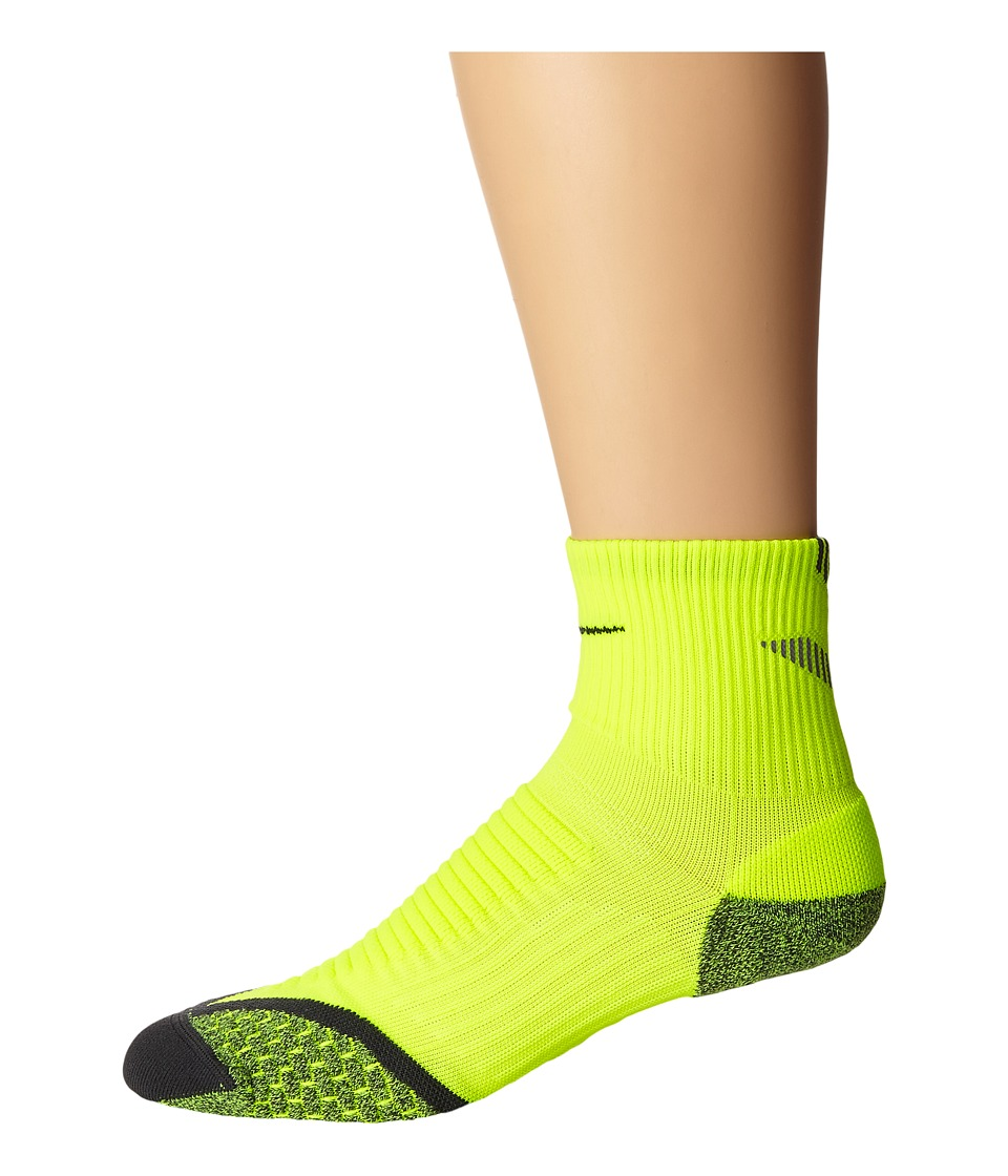 Nike Nike Elite Running Cushion Quarter (Volt/Anthracite/Anthracite) Quarter Length Socks Shoes