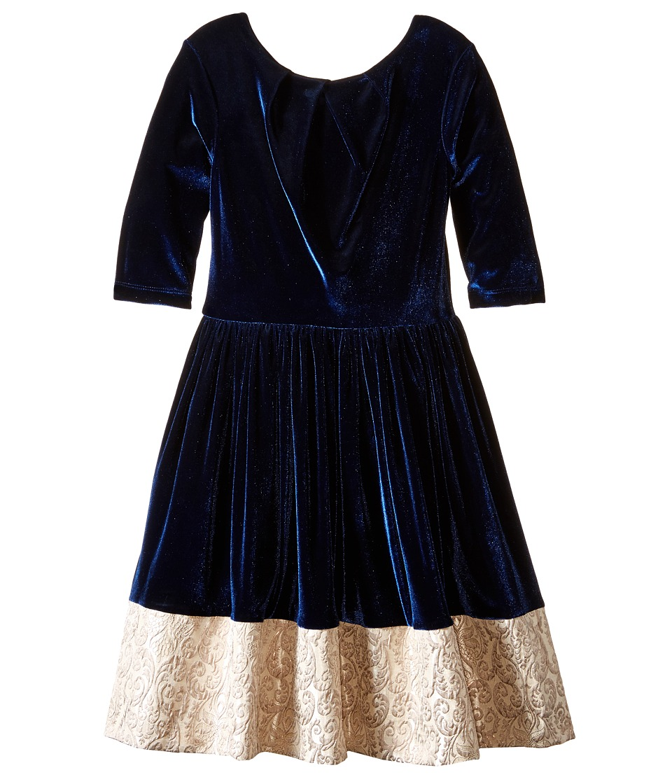 fiveloaves twofish - Moonlight Brocade Dress (Little Kids/Big Kids) (Navy) Girl's Dress