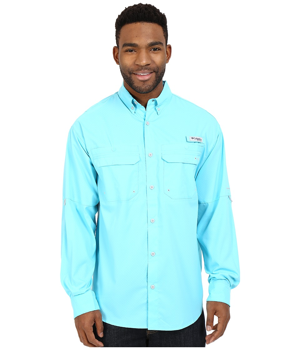 Columbia - Cast Away Zero Woven Long Sleeve Shirt (Opal Blue/Cool Grey) Men's Long Sleeve Button Up