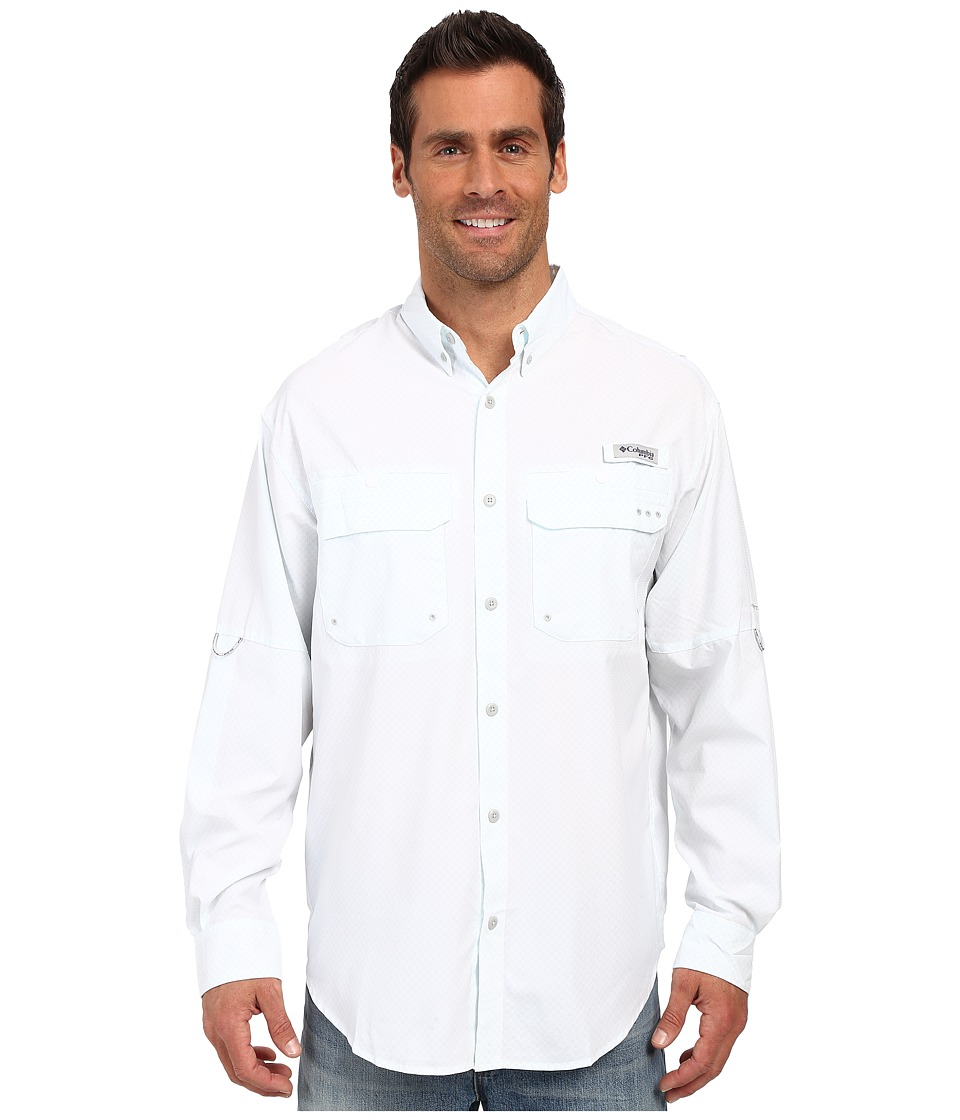 Columbia - Cast Away Zero Woven Long Sleeve Shirt (White/Cool Grey) Men's Long Sleeve Button Up