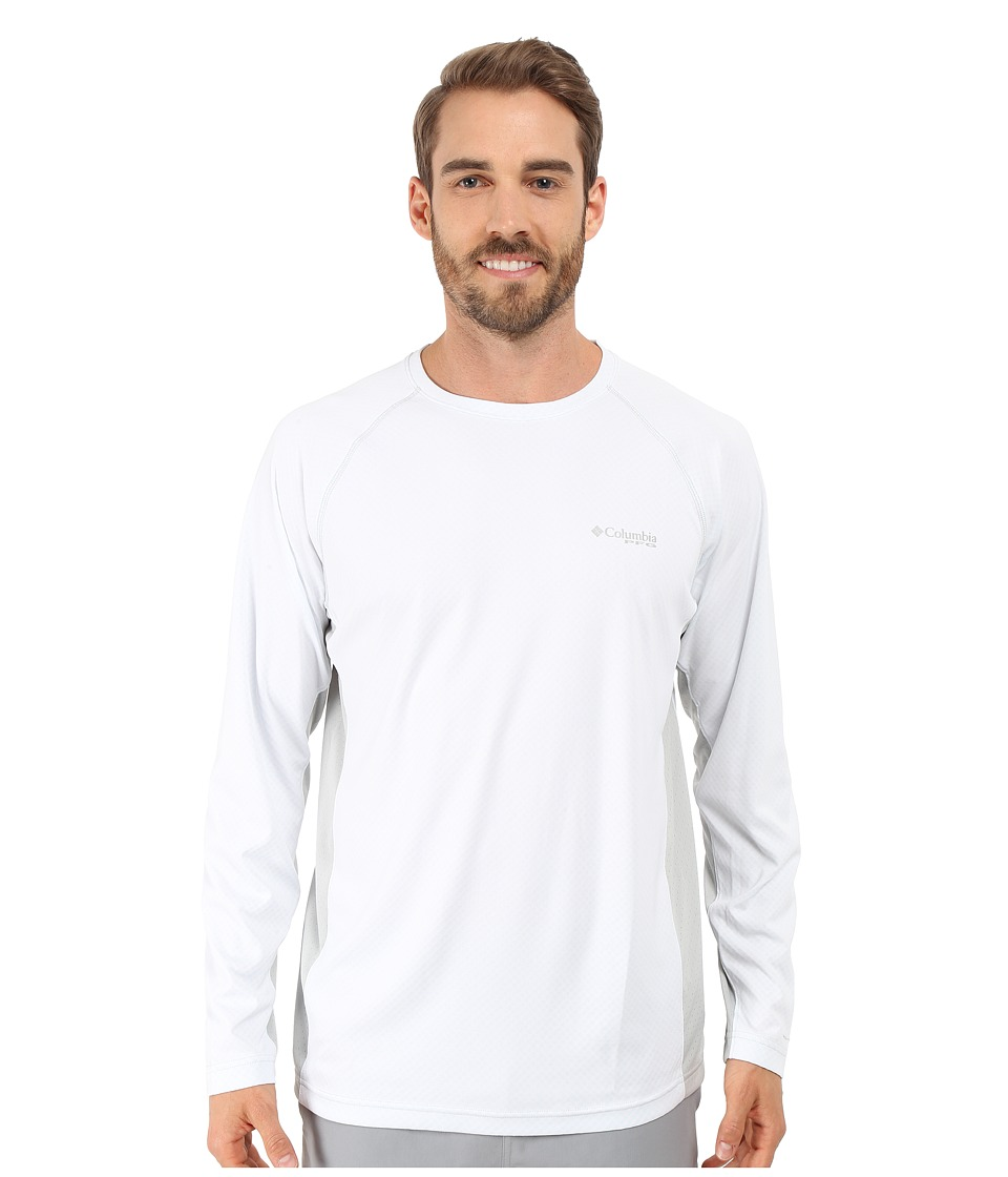 Columbia - Cast Away Zero Knit Long Sleeve Shirt (White/Cool Grey) Men