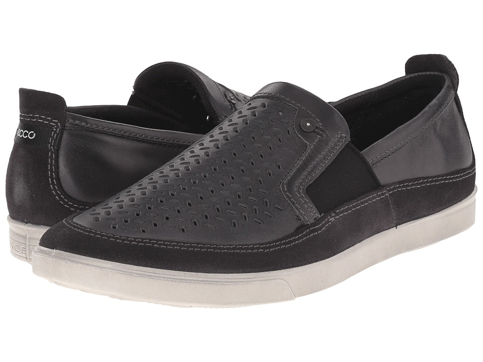 ECCO - Collin Perf Slip-On (Moonless/Moonless) Men