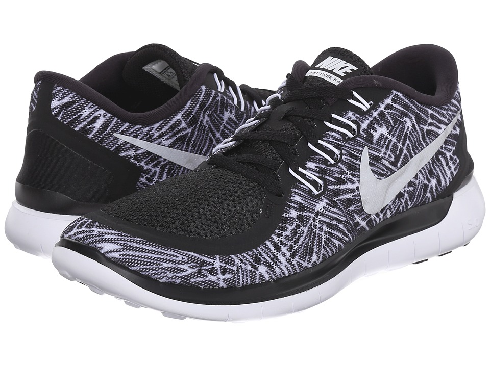 Nike - Free 5.0 Print (Black/White/White) Women's Running Shoes