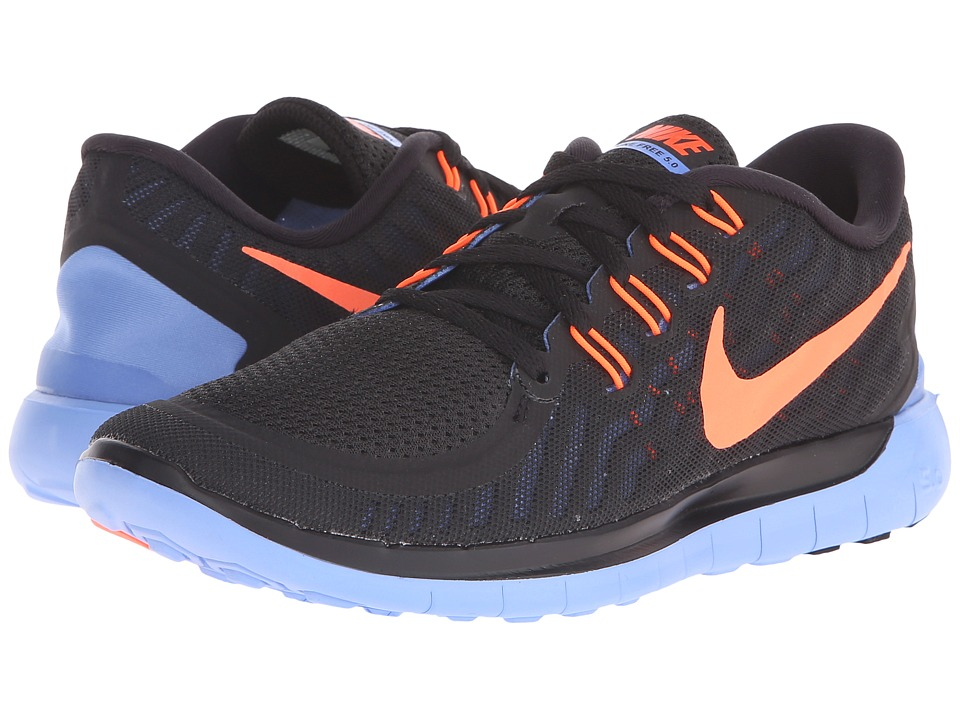 Nike - Free 5.0 (Black/Chalk Blue/Hyper Orange) Women's Running Shoes
