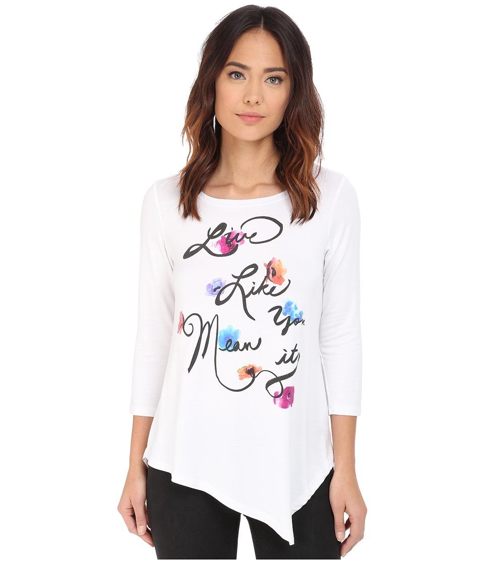 NYDJ - Leah Graphic 3/4 Sleeve Tee (Optic White) Women's Clothing