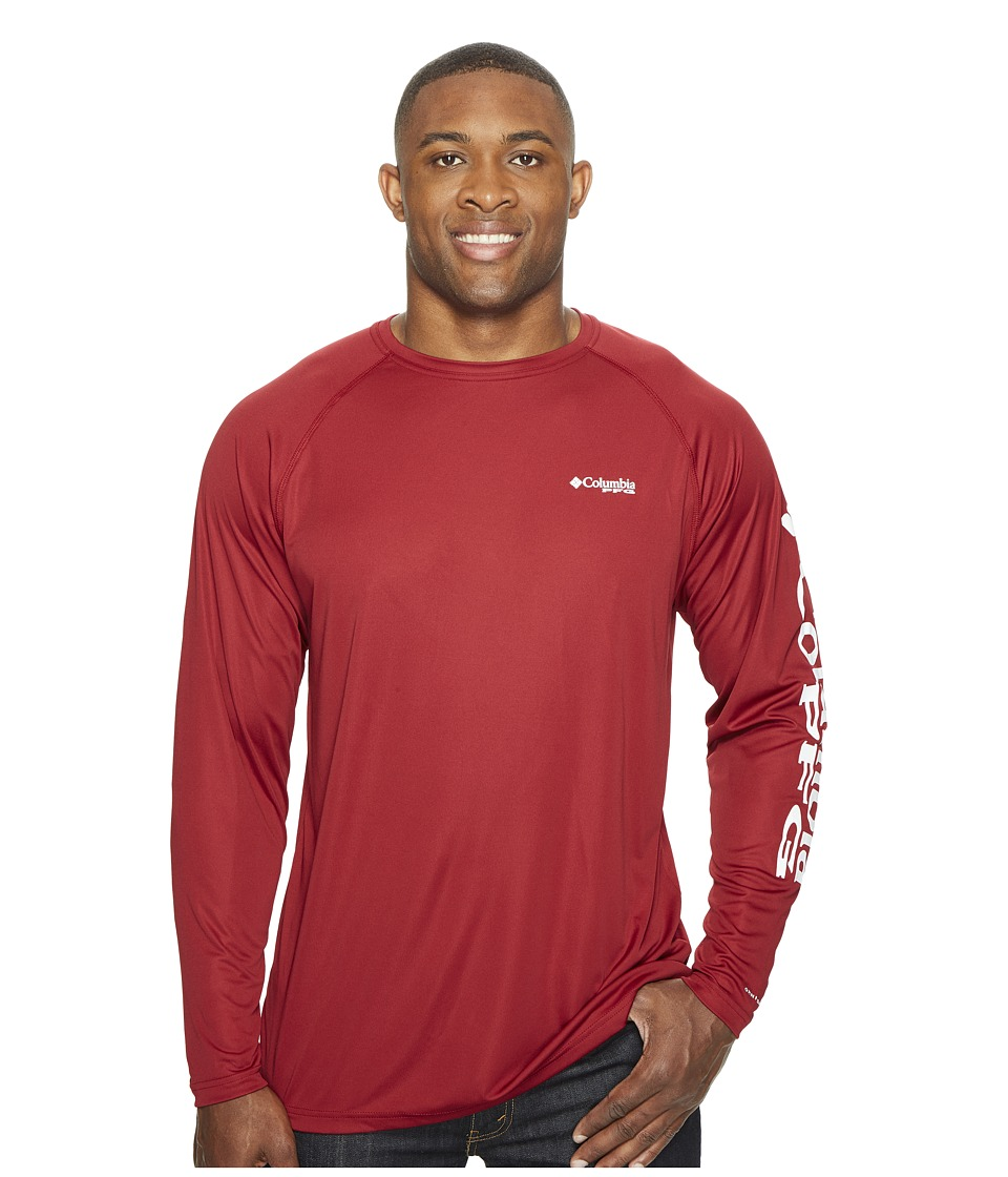 Columbia - Terminal Tackletm L/S Shirt - Extended (Beet/White Logo) Men's Long Sleeve Pullover