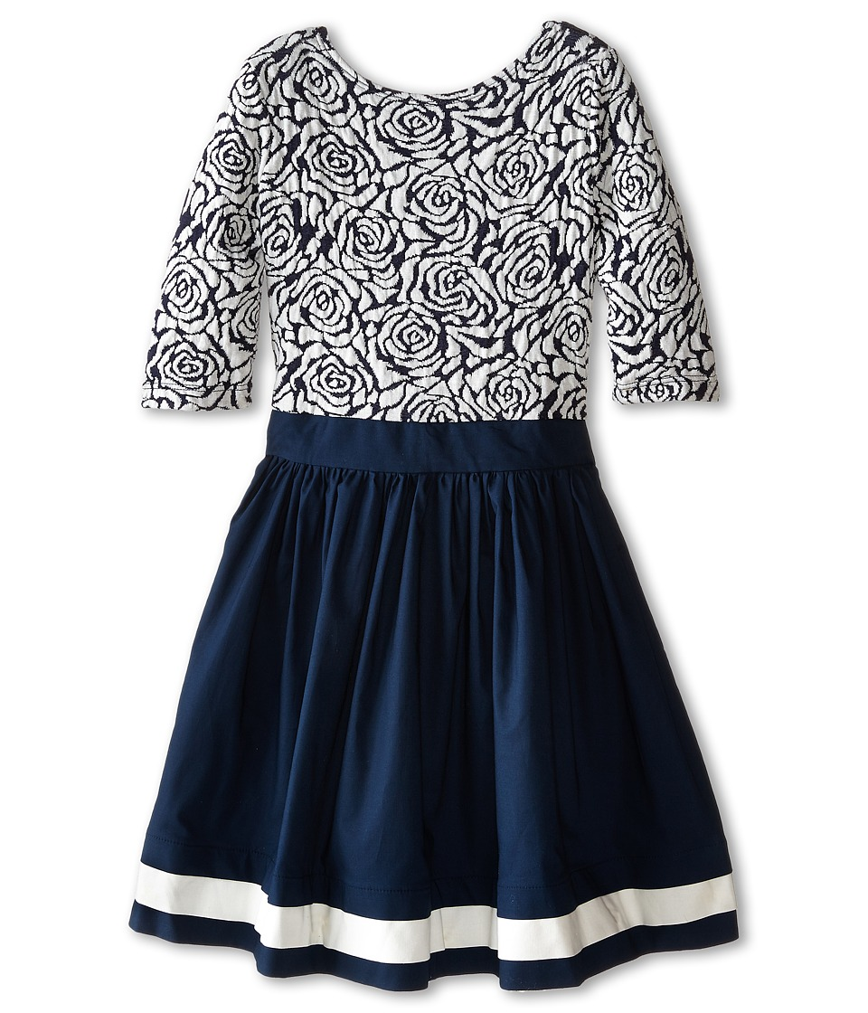 fiveloaves twofish - Paint the Roses Dress (Little Kids/Big Kids) (Navy) Girl's Dress