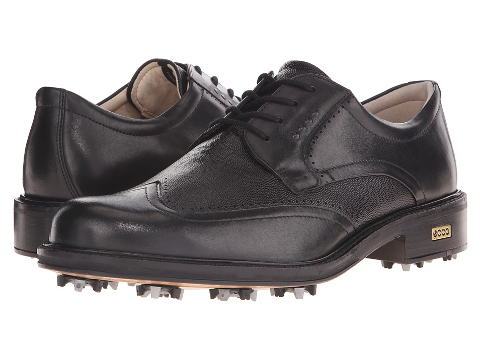 ECCO Golf - New World Class (Black/Black) Men's Lace Up Wing Tip Shoes