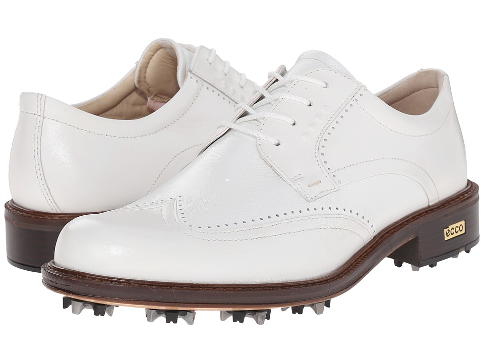 ECCO Golf - New World Class (White/White) Men's Lace Up Wing Tip Shoes