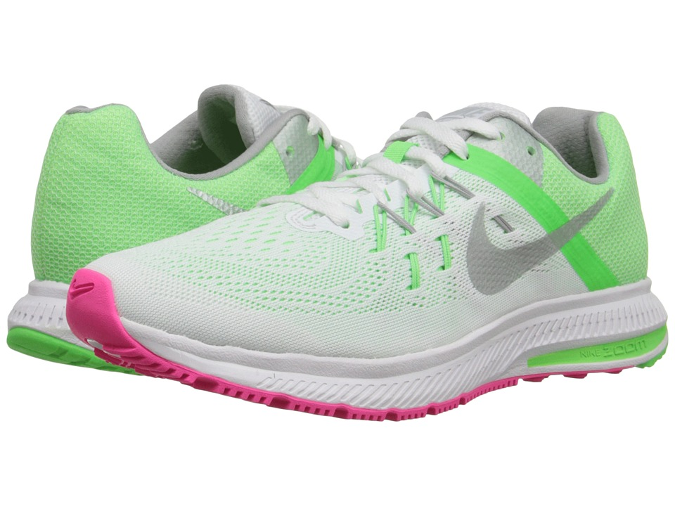 Nike - Zoom Winflo 2 (White/Voltage Green/Hyper Pink/Metallic Silver) Women's Running Shoes