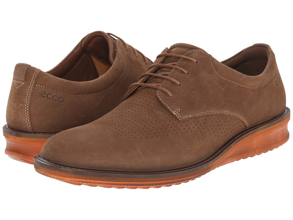 ECCO - Contoured Brogue (Camel/Cocoa Brown) Men's Shoes
