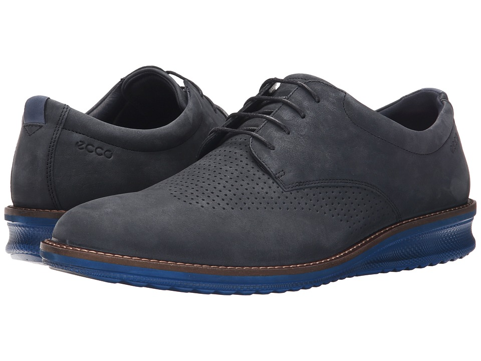 ECCO - Contoured Brogue (Navy/True Navy) Men's Shoes