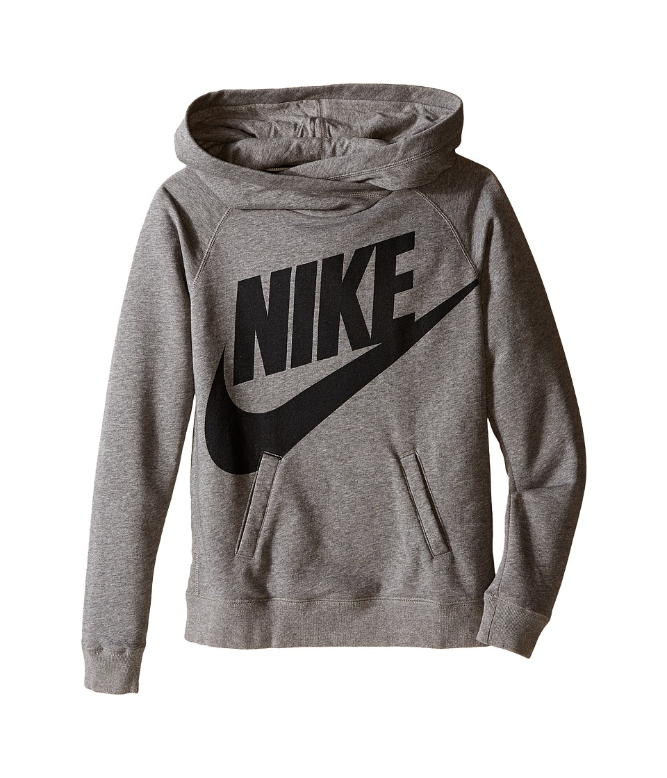 Nike Kids - Rally Funnel Neck Hoodie (Little Kids/Big Kids) (Carbon Heather) Girl's Sweatshirt