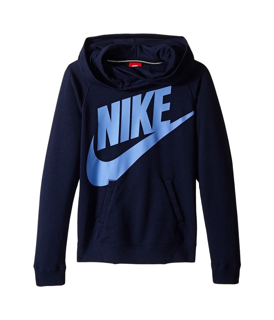 Nike Kids - Rally Funnel Neck Hoodie (Little Kids/Big Kids) (Obsidian) Girl's Sweatshirt