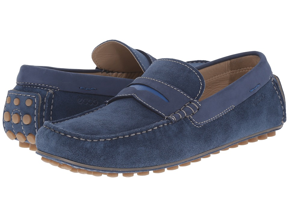 ECCO - Dynamic Moc (Denim Blue/Denim Blue/Bermuda Blue) Men's Slip on Shoes