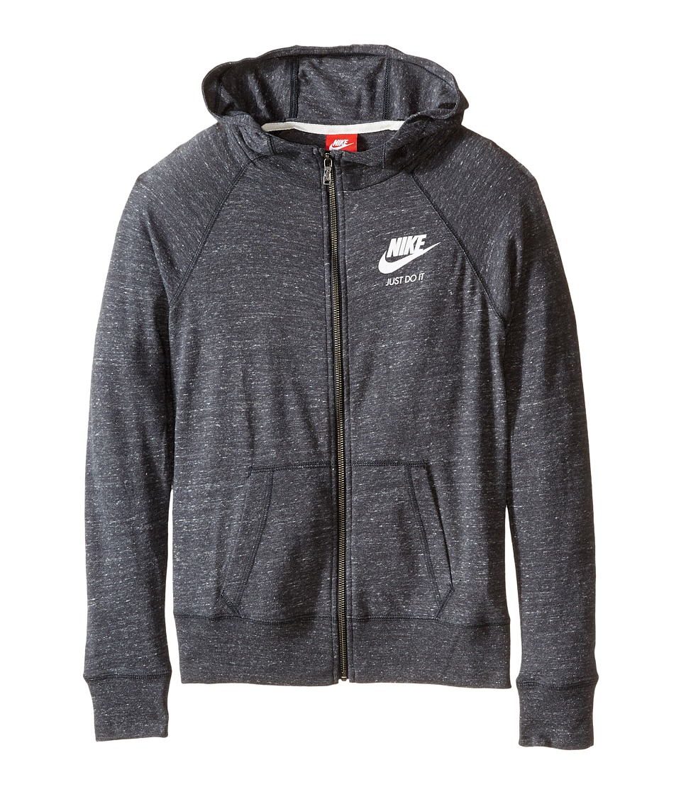 Nike Kids - Gym Vintage Full Zip Hoodie (Little Kids/Big Kids) (Anthracite/Sail) Girl's Sweatshirt