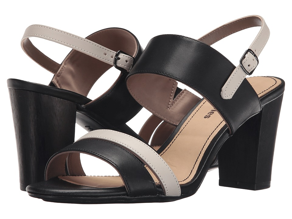 Hush Puppies - Molly Malia (Black/Off-White Leather) Women's 1-2 inch heel Shoes