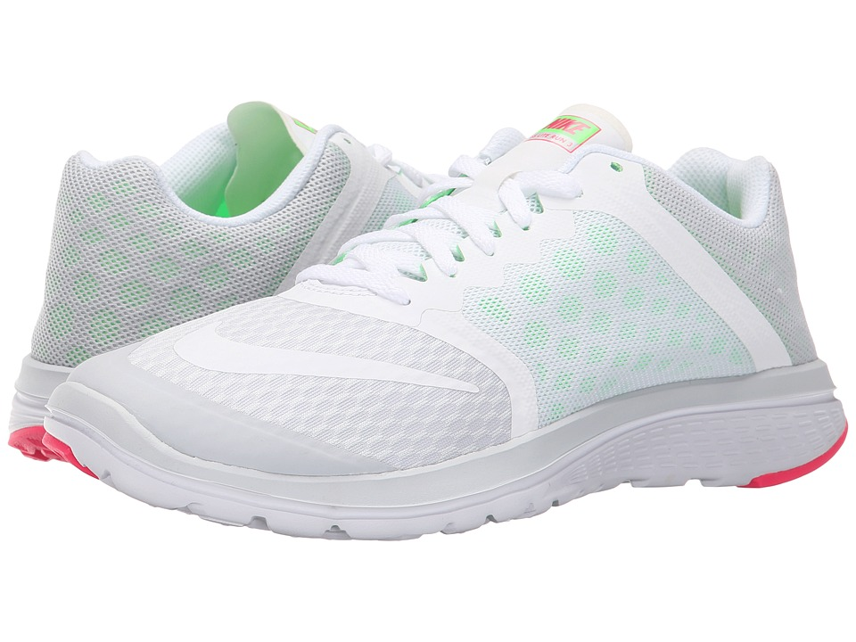 Nike - FS Lite Run 3 (Pure Platinum/Voltage Green/Hyper Pink/White) Women's Running Shoes