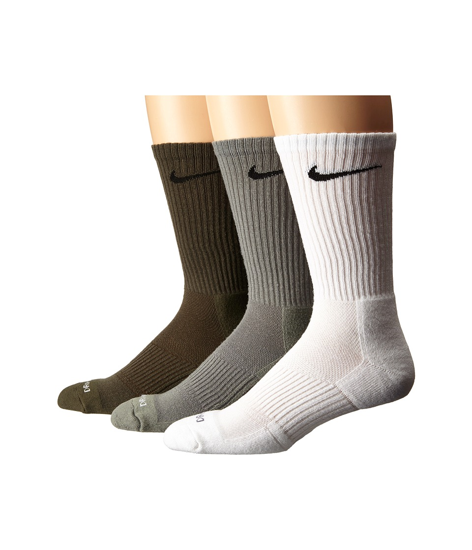 Nike - Dri-Fit Cushion Crew 3-Pack (Multi-Color) Crew Cut Socks Shoes