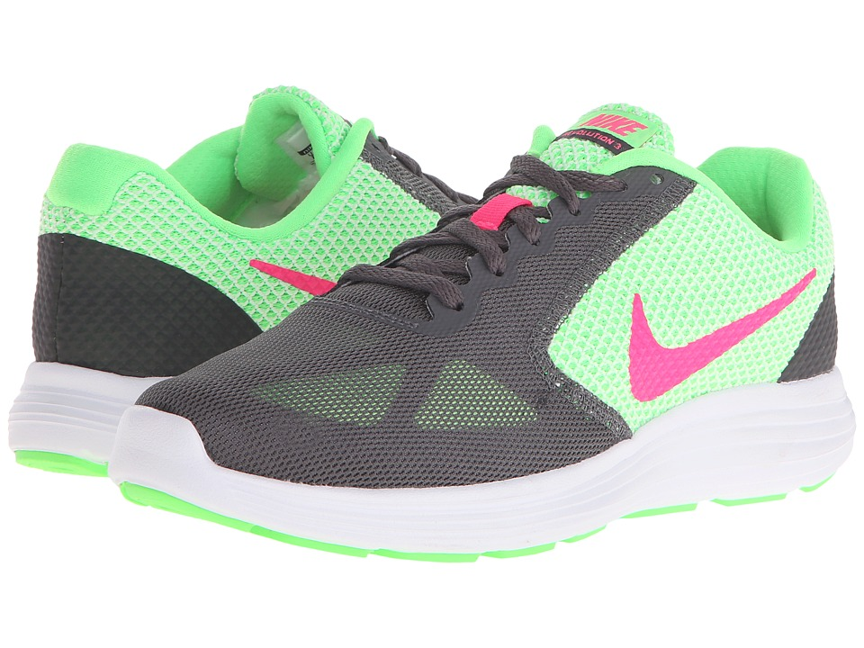 Nike - Revolution 3 (Voltage Green/Dark Grey/White/Hyper Pink) Women's Running Shoes